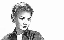 Princess Grace Kelly Portrait from monaco Banknotes.