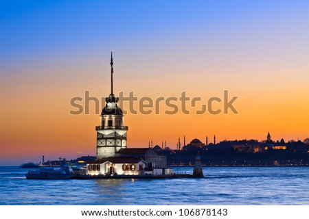 Princess Island (Prens Adalar?) in Istanbul, at sunset, with Hagia Sophia mosque in the background,