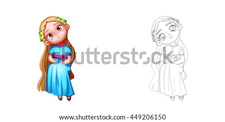Stock Photo Princess 23: The Young Princess, also an Adorable Girl. Coloring Book, Outline Sketch, Human Character Design isolated on White Background