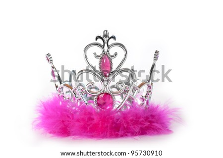 Princess tiara crown with pink feather and jewelry