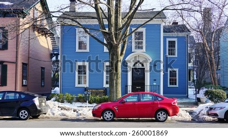PRINCETON, NJ -8 MARCH 2015- Editorial: Nassau Street is the main commercial street in the university town of Princeton, NJ, and the symbolic separation between town and gown.