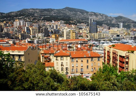 Principality of  Monaco and Monte Carlo cityscape.Monaco is the second smallest and the most densely populated country in the world.