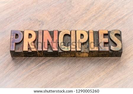 principles word  in vintage letterpress wood type printing blocks Сток-фото ©