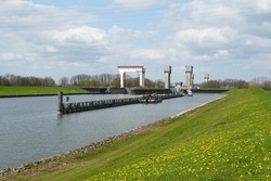 Prins Bernhard Sluice complex near the city of Tiel, connecting the river Waal with the Amsterdam-Rhine canal.