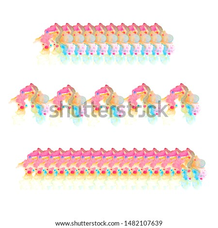 Print for edge decoration. Edging of abstract watercolor spots for your design. Hand-painted. Isolated on white background