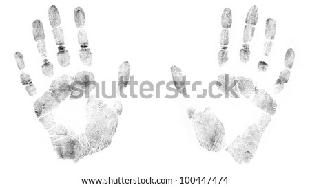 Print of human hands. The detailed image. It is isolated on a white background