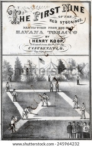 Print of tobacco package label showing the Cincinnati Red Stockings on the field during a game 1869