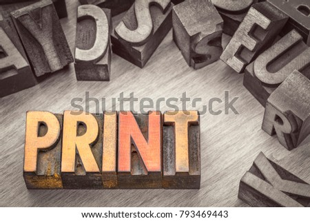 print word abstract in vintage letterpress wood type printing blocks, color combined with black and white image