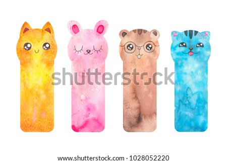 Printable bookmarks with cute cartoon animals - fox, cat, rabbir, beaver. Watercolor ready to use templates bookmark, Isolated on white