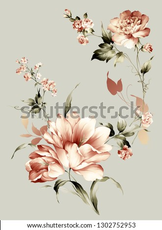 printable bouquet of flowers, for textile and digital design - Illustration