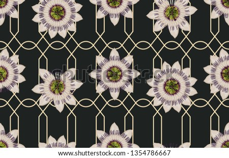 Printable seamless pattern of passion blume flowers. Seamless spring pattern in super high resolution. #1354786667