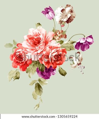 printable summer flowers, textile and digital design - Illustration