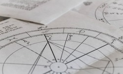 Printed astrology natal charts background, age of aquarius