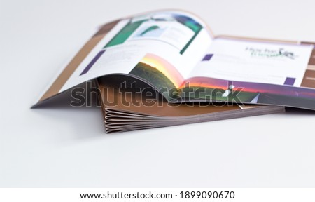printed brochures with saddle stitching from the printing house Stockfoto ©