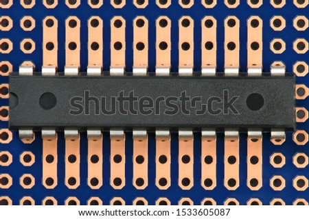 printed circuit board and microchip closeup - electronic component for digital equipment, concept for development of electric computer circuits
