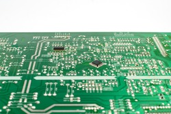 printed circuit board of electronic device microcircuit close-up