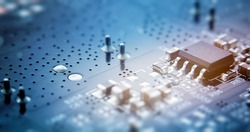 Printed circuit board with electrical components. macro photography