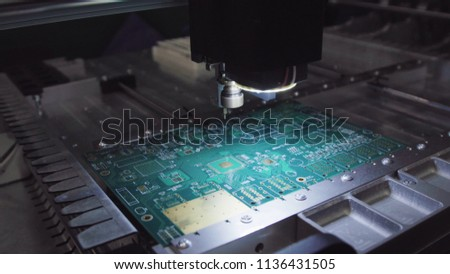 Printed circuit boards production factory. Technological process. Microchip production factory. Production of electric boards at factory