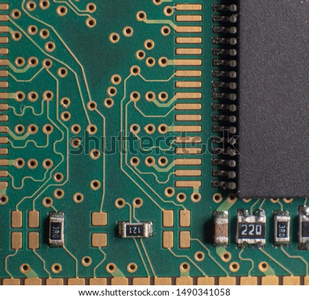 Printed circuit bords detail, gold plated, integrated circuits and resistors #1490341058