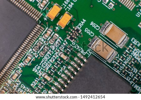 Printed circuit bords detail, gold plated, integrated circuits and resistors #1492412654