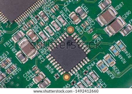 Printed circuit bords detail, gold plated, integrated circuits and resistors