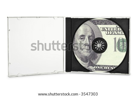 Printed compact disc in open case. (with clipping path)