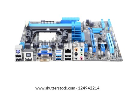 Printed computer motherboard board, isolated on a white background