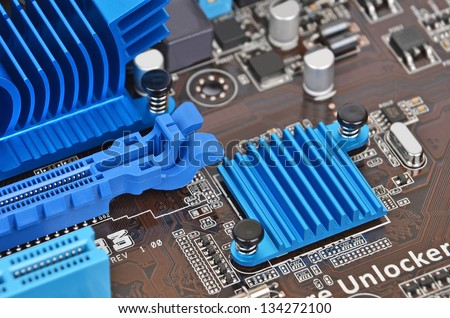 Printed computer motherboard PCI connector slot, DOF