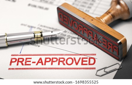 Printed document with rubber stamp and the word pre-approved. Concept of mortgage or loan pre-approval. 3D illustration. Stock photo ©