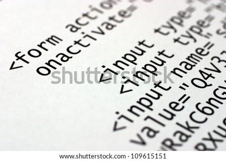 Printed internet html code.
