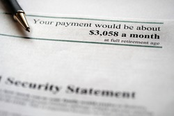 Printed Social Security Statement for retirement planning and payment