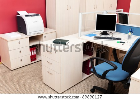 printer and computers in a modern office