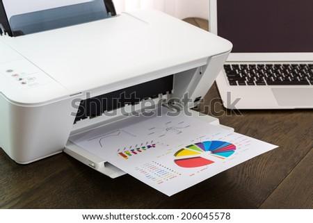 Laptop Printer Printer And Laptop on Wood