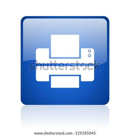 printer blue square glossy web icon on white background