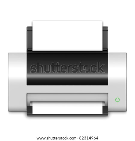 Printer icon in white on isolated white background.