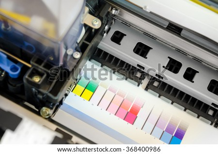 Printer ink jet print machine printing color patches for color management control
