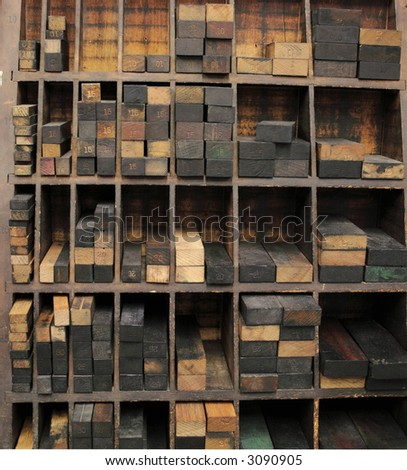 printer's wood furniture neatly stacked in their compartments