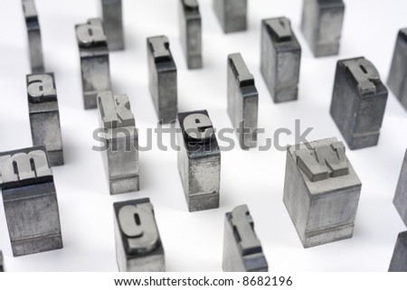 Printers blocks with alphabet. Lower case letters.