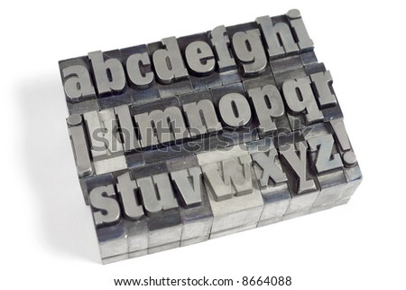 Printers blocks with english alphabet. Lower case letters.