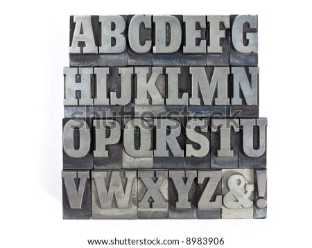 Printers blocks with english alphabet. Upper case letters. - stock photo