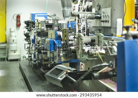 Printing at high speed on offset machine. Label, Rolled Up, Printing Out, Group of Objects, Merchandise