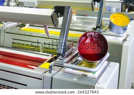 printing machine cylinders and printing ink pot with red yellow color