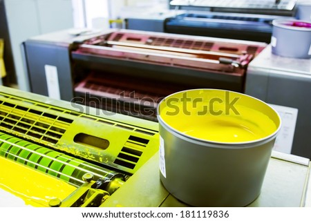 printing machine cylinders and printing ink pot with yellow color