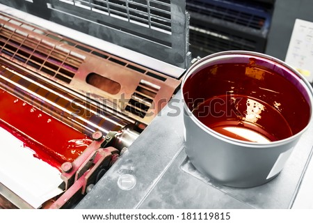 printing machine detail and printing ink pot with red color