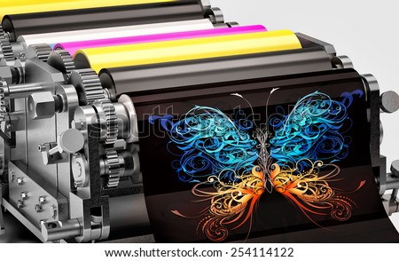 printing machine showing an abstract butterfly print