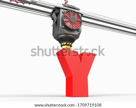 printing of letter Y under 3D printer head. suitable for 3d printing technologies and alphabet themes. 3d illustration Zdjęcia stock ©