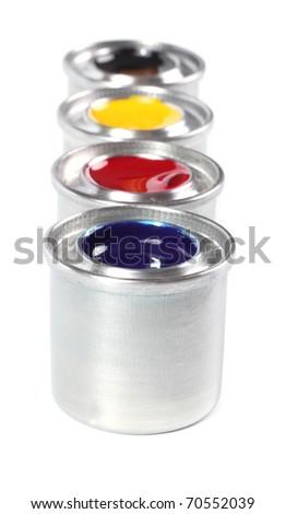 Printing press color, cyan, magenta, yellow and black