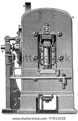 "printing press, front view - an illustration for article ""Equipment for the production of coins"" of the encyclopedia publishers Education, St. Petersburg, Russian Empire, 1896 - stock photo"