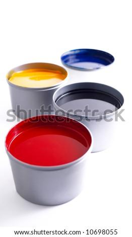 Printing press inks, cyan, magenta, yellow and black