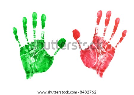 Prints of hands, isolated on white background - stock photo